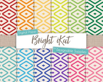"iKat Digital Paper Pack - ""Bright Rainbow"" - Tribal Pattern, ikat pattern, Indian pattern, ikat Background, Digital Scrapbooking"
