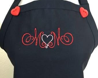 Apron, Mom Apron, Mother Apron, Embroidered Apron, Mother's Day Gift, Gift for Mom, Mom Gift, Mother Gift, Gift for Mother, Navy Blue Apron