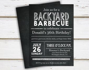Printable BBQ Birthday Invitation, Outdoor Birthday, Bday, Summer, Chalkboard, Barbecue, July 4th, Picnic, Grill, Burgers, Drinks, MB016