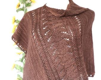 Asymmetrical poncho, brown Malabrigo wool poncho, petite sleeveless wrap, women's size small to medium