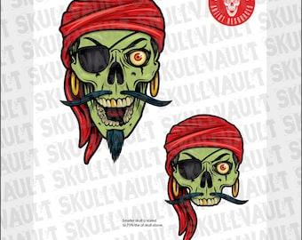 Comic Book Skull Vector Illustration - Zombie Pirate