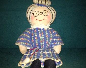 Vintage Soft Body Doll Old Lady School Teacher Plush Doll