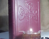 Leather-bound Bible with Celtic Cross, NRSV Bible, Burgundy leather Bible