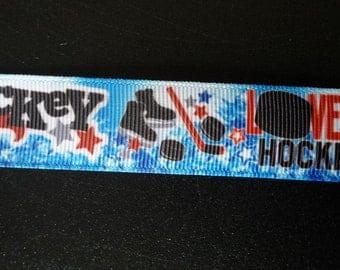 7/8 Inch I Love Hockey Grosgrain Ribbon