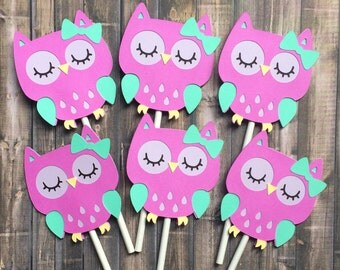 12 Owl cupcake toppers, birthday decorations, purple owl, baby shower, party decoration, purple owl cupcake toppers, made to order