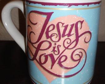 """Vintage 1992 """"Jesus Is Love"""" Mug."""