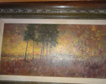 """Vintage 1968 Oil on Masonite/ Titled """" Autumn Day""""/ Signed By Arizona Robert L. Knudson"""