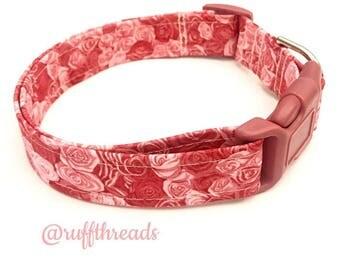 Pink roses dog collar