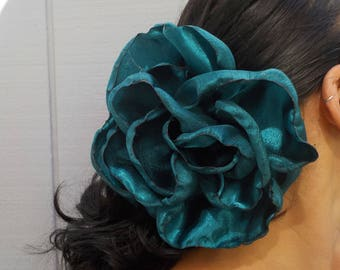 Dark Turquoise GIANT flower - flamenco Hair clip-pin - Blue Green - Belly dance - Tango Flower - Dress-up, casual - day of the dead - Freeda