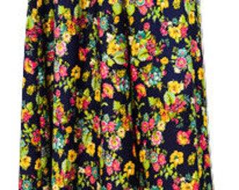 Plus size boho hippie floral digital print elasticated maxi skirt freesize (20 – 30 UK size) Blue
