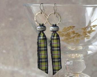Cornish earrings, Cornish tartan earrings, patriotic Cornish tartan earrings, tartan earrings, KERNOW, hypoallergenic niobium earwires