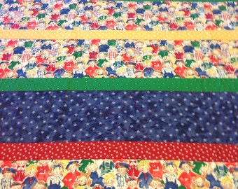 Smiling Happy Children, Handmade Quilt, Primary Colors of Red, Blue, Green and Yellow, featuring Stars and Dots