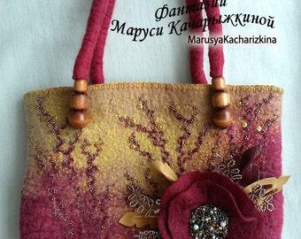 Discount 40%Handmade felted purse, Top handle bag, Wool Purse, Felted handbag, Shoulder bag, Red