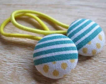 Fabric Covered Button Hair Elastic – Stripes & Dots (Set of 2)
