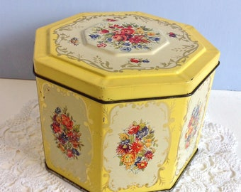 Biscuit Tin Huntley & Palmers Floral Hexagonal Tin Yellow Gold