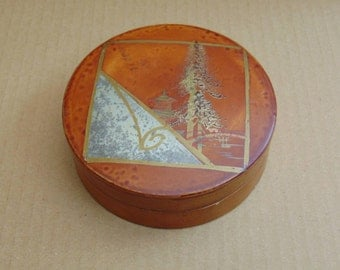 Vintage Japanese Stud Box with Gilded Tree and Temple Decoration