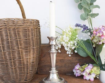 Vintage candlestick, silver-plated copper