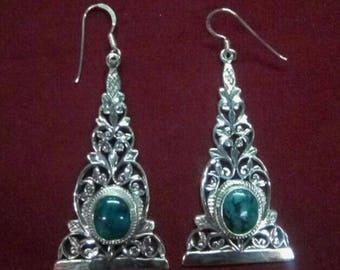 925 Sterling Silver Turquoise Earrings Handmade in Nepal