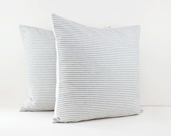 Gray and White Stripe Linen Pillow Covers - Grey Cushions - Gray minimalist - Linen pillow shams - Decorative pillows for bed -