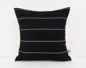 Standard pillow sham - Black home decor - Linen Black - Accent pillows - Modern cushions - Black cushion -  European linen