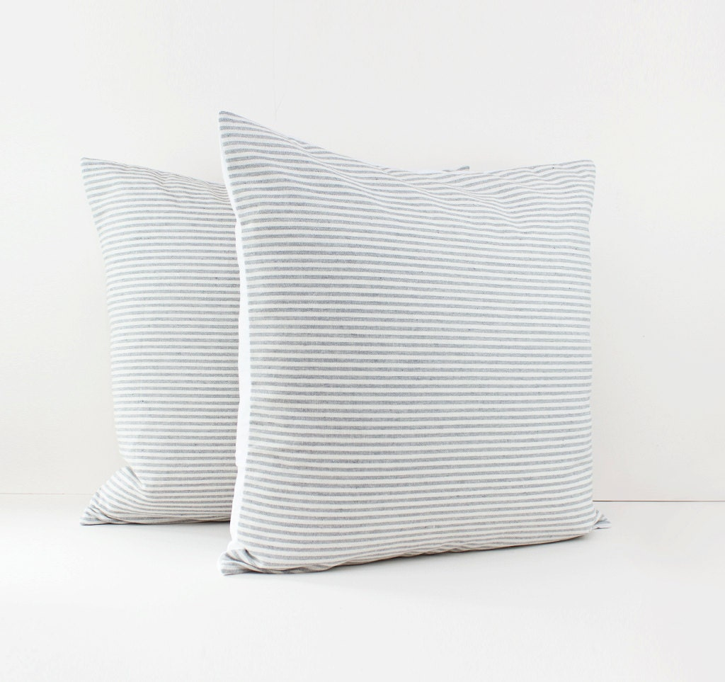 gray and white stripe linen pillow covers grey cushions. Black Bedroom Furniture Sets. Home Design Ideas