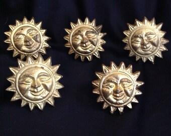 Vintage Gold Metal Sun Napkin Rings...Set of 5