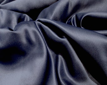 "JN00075 Navy 84 Matte Satin Lamour Peau de Soie Elegant Heavy Drape Soft Smooth 100%Charmuese Polyester 58/60""Fabric By The 1 Yard"