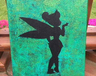 Green Tinkerbell Glitter Painting