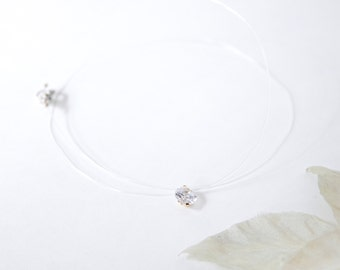 Handmade fish wire with Cubic Zirconia Necklace, made to order