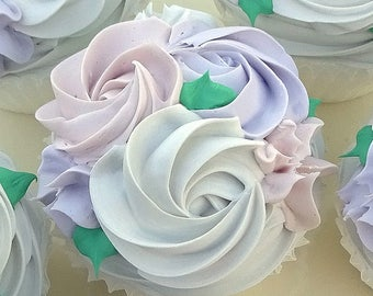 Lovely White Rosette Fake Cupcake