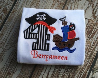 Pirate Ship custom embroidered personalized birthday shirt