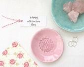 Ring Dish - Trinket Dish - Jewelry Dish - Pink Flower Pastel Ceramic
