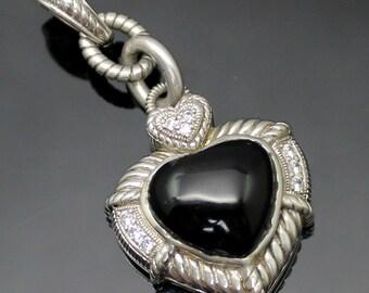 GIFT IDEA !! Authentic Judith Ripka Genuine Black Onyx Heart Diamonique CZ Accents Textured Elongated Sterling Silver Enhancer Pendant