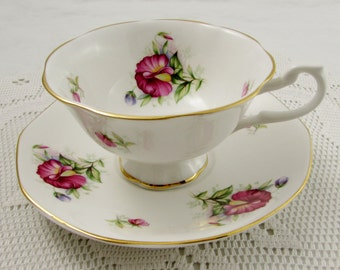 Royal Minster Tea Cup and Saucer with Sweet Pea Flowers, Pink Flowers, Floral Tea Cup, Vintage Bone China