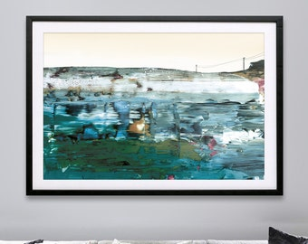 """Large Abstract Landscape Painting, Printable, 24""""x36"""", Landscape Print, Limited Edition,Painting By Artist Dan Hobday, Earth tones, wall art"""