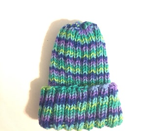 Stretchy beanie, Ribbed beanie, striped beanie, blue toddler hat, boys hat, winter hat, skull cap, soft hat, colorful cap, green beanie,