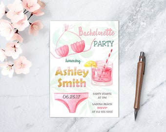 Summer Beach Bachelorette Party Invitation, Ocean Bridal Party Theme, Girls Night Out, DIGITAL FILE