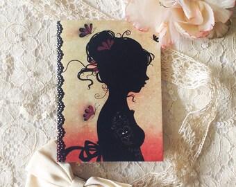"Notebook -  mini notebook - illustrated notebook - Tattoo - ""Tattoo Girl"""