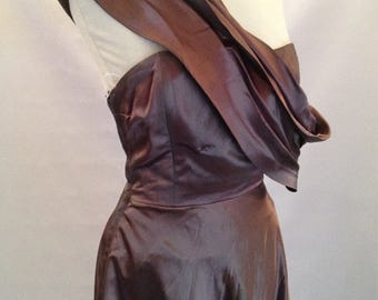 Chocolate Satin Evening Gown by Gertrude Carol of Knightsbridge (Late 1940s)