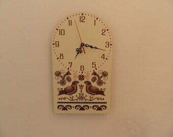 Hungarian folk art patterned wall clock,  etno wall clock, unique wall clock, extra quiet clock, gift for woman, Housewares,  retro clock