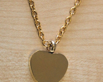 Memorial Ashes Heart  Pendant Necklace in 18ct Gold Plate.