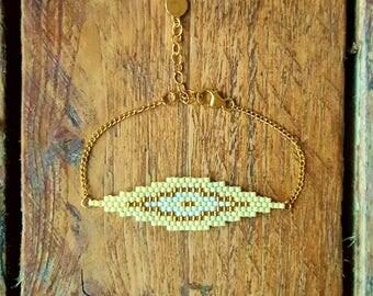 SAONA Lemon Ice plate 14 Karat Gold BRACELET and glass Miyuki beads