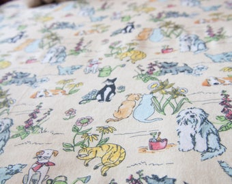 Handmade Vintage Cat and Dogs Fitted Flannel Cot Sheet