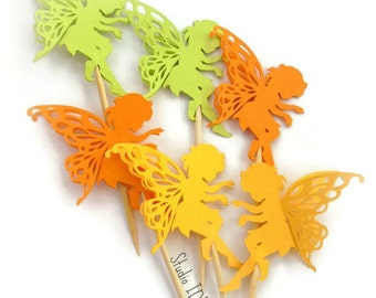 Baby Fairy Cupcake Toppers - Light Green, Yellow, Orange Large Fairy Food Picks, Cupcake Toppers - or Choose Your Colors