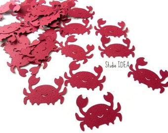 40 Large Red Cute Crab Cut outs, Confetti - Set of 40 pcs