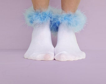Light Blue Fluffy Ankle Socks