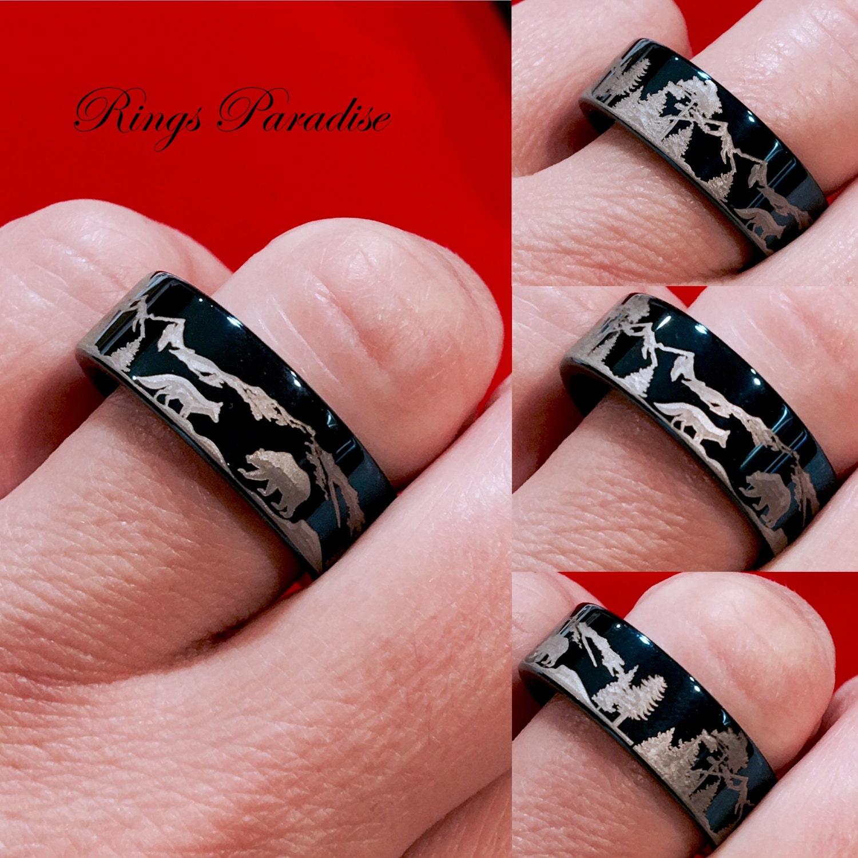Elegant Deer Track Wedding Rings | Wedding