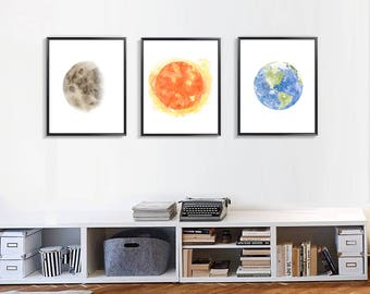 Set Of 3 Prints Planet Poster Sun Moon Earth Painting Print Living Room