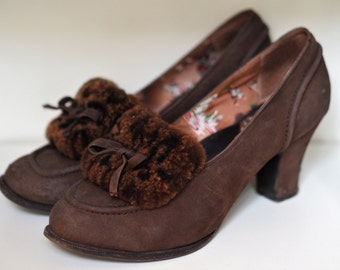 SALE - Beautiful 1940s Style Fur Trimmed High Heels
