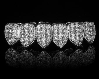 SILVER Plated High Quality CZ Bottom GRILLZ Mouth Teeth Grills